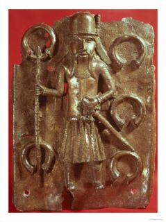 Benin Plaque Depicting a Portuguese Man Holding a Staff of Office, Probably 16th Century Giclee Print