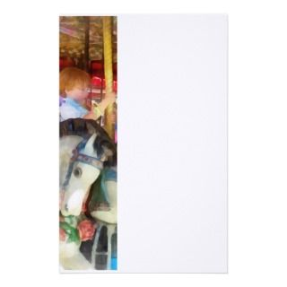 Little Boy on Carousel Customized Stationery