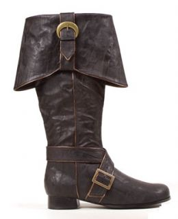 Mens Knee High Pirate Boots Ð Black Halloween Accessory
