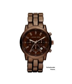 NEW 2012 MICHAEL KORS BROWN ESPRESSO CHRONO SHOWSTOPPER GLITZ WOMEN