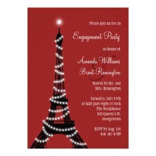 Paris Sparkles Engagemen Pary Inviaion (red)