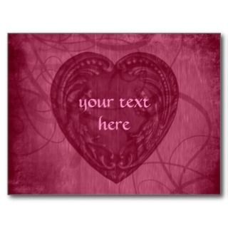 Valentines Day antique heart pink Greeting Card