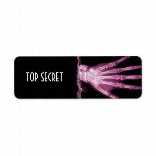 Pink X ray Skeleton Hand TOP SECRET Labels
