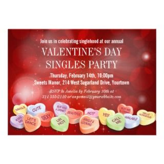 Candy Hearts Valentines Day Singles Party Announcement