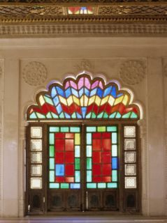 Original Old Stained Glass in Doors and Decorative Jali Wood Carving in Door, Jodhpur, India Photographic Print by John Henry Claude Wilson