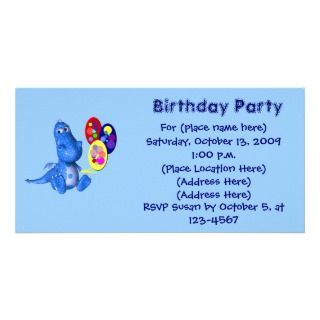 Blue Dragon Balloons Birthday Invitation Picture Card