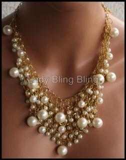 Kette Halskette Collier Perle Perlen Perlenkette Gold Creme Weiß NEU