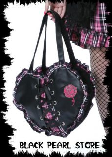Tasche Herz Handtasche Kunstleder Herz Tartan Lolita Visual Japan