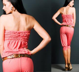 NEU ** Bandeau ** Overall ** 7/8 Jumpsuit ** rosé lachsfarben