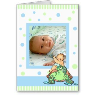 Turtle Baby Boy Birth Announcement Card