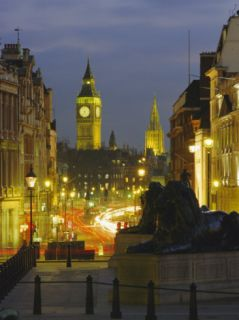 Evening View from Trafalgar Square Down Whitehall with Big Ben in the Background, London, England Photographic Print by Roy Rainford