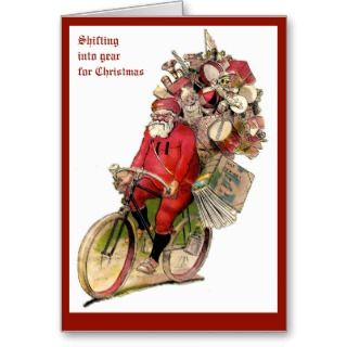 Vintage Christmas image of santa on bicycle bike Cards