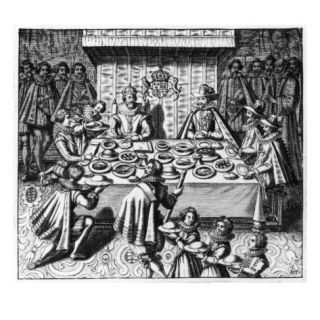 The Spanish Ambassador Dines with the King James I of England, C.1620 25 (Engraving) Giclee Print by Spanish