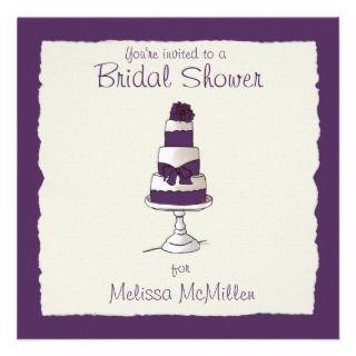 Purple Wedding Cake Bridal Shower Invitations