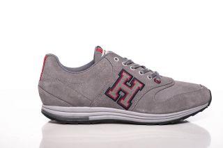 Tommy Hilfiger Herren Leder Sneaker Schuhe Arent Grau Grey NEU Gr. 42
