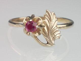 Art Deco Damen Russisch 875 Silber vergoldet Ring mit Rubin,Handarbeit