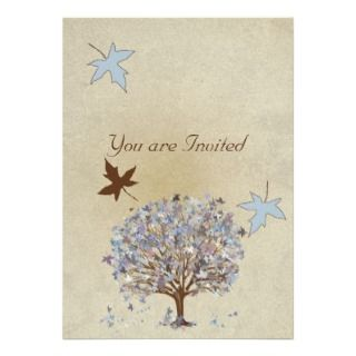 Blue and Brown Tree Wedding Invitation #2 invitation