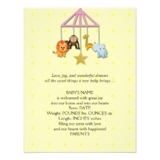 Yellow Baby Animal Mobile Baby Announcement