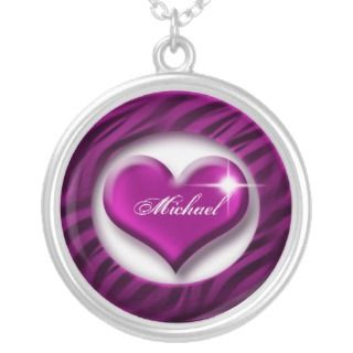 Romantic purple heart love valentine gift custom necklace