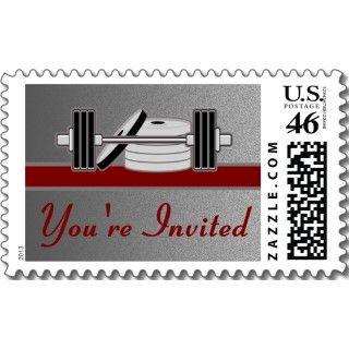 Bodybuilding Birthday Party Invitation Maroon