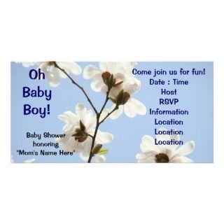 baby boy baby shower invitations white magnolia flowers invitations