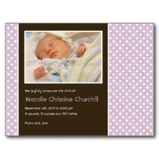 Polka Dots Lilac/Brown • Baby Announcement Postcard