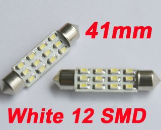 Car Interior Bulb White Dome 12 SMD LED Light 41mm