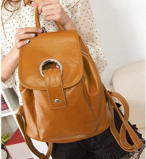 Womens Fashion Metal Ring Brown Faux Leather Backpack Handbag Purse