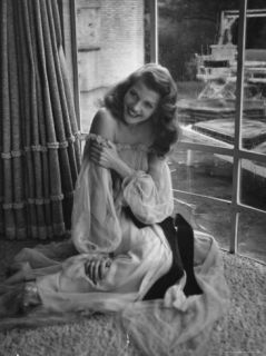 Actress Rita Hayworth Wearing Nude Souffle Negligee in movie Gilda Premium Photographic Print by Bob Landry