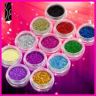 12 Farbe Nail Art Glitter Puder Glitzer Nail Design Set
