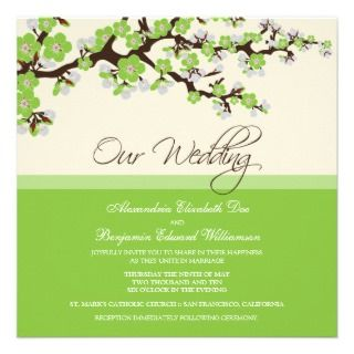 Cherry Blossom Wedding Invitation (green)