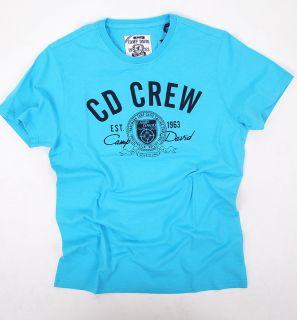Camp David T Shirt Herren Kurzarm The Caribean Melon CD CREW Blau Gr