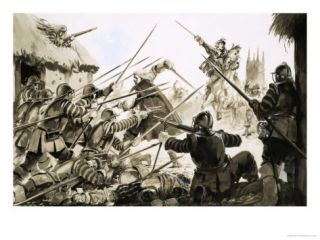 Roundheads Fighting Cavaliers at Worcester Giclee Print
