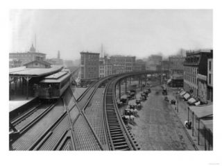 Elevated Railroad Station at Chatham Square NYC Photo   New York, NY Prints