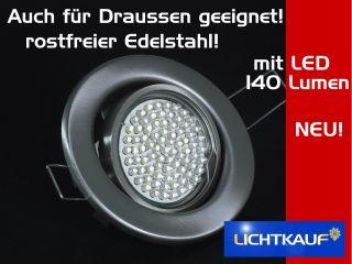 8er LED Einbauleuchten Set Edelstahl rostfrei mit 60 LEDs kaltweiss