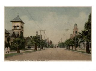 Redlands, California   View of Cajon Street with Four Churches Poster
