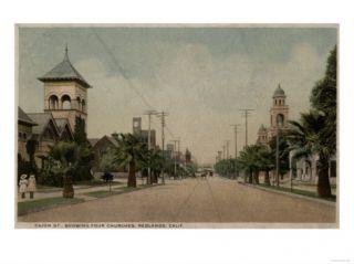 Redlands, California   View of Cajon Street with Four Churches Poster