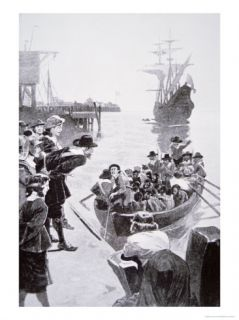 Landing Cargo of African Slaves, Jamestown, Virginia, 1619 Giclee Print