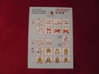 Safety Card Slovenska Government Tupolev Tu 154M