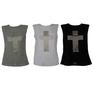 Damen Top Shirt Gold Besetzt Nieten Kreuz Muster Oberteil 36 38 40 42