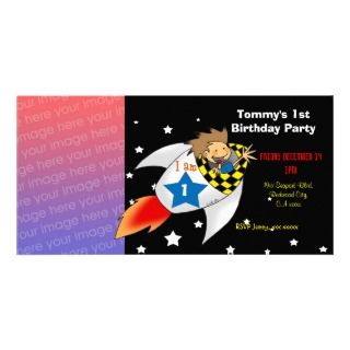 1st rocket birthday boy party invitations personalized photo card