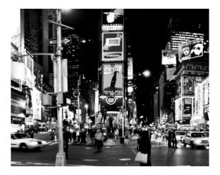 Times Square Evening   Manhattan, New York City   B&W Photograph Photographic Print by DW labs