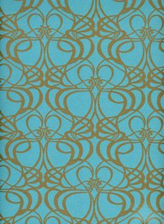 Vlies Tapete deLuxe 2012 Art Nouveau türkis gold
