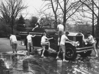 Kids Washing Old Fire Truck Premium Photographic Print by John Dominis