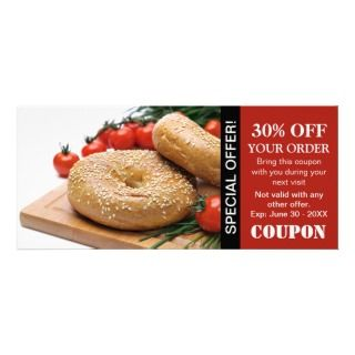 Bread Corner, Bakery Or Bagel Shop Coupons Personalized Rack Card
