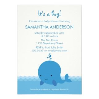 Modern Whale Baby Shower Invitation   Boy