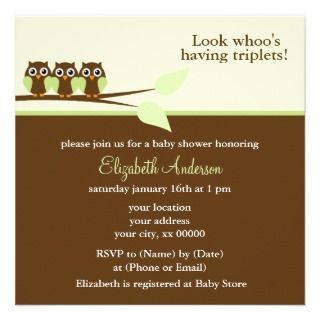 Triplets Baby Shower Announcement