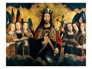 Christ Blessing, Central Panel from a Triptych from the Church of Santa Maria La Real Giclee Print by Hans Memling