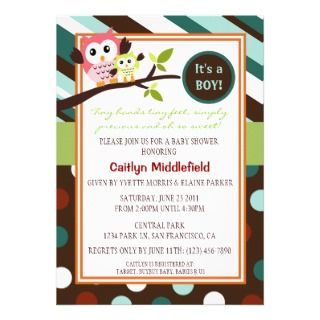 Modern Owls Baby Shower Invite
