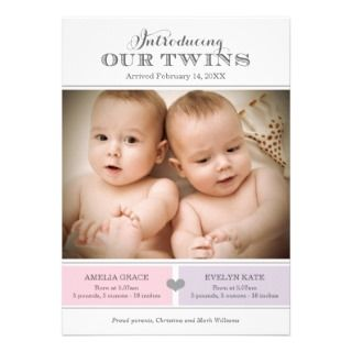 Twins Photo Birth Announcement  Baby Girl and Boy